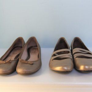 Two Pairs of Gold / Tan Shoes in Leather